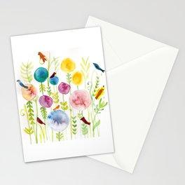 Birds in the Globe Flower Garden Stationery Cards