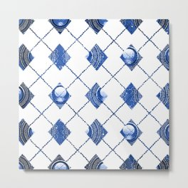 Blue and White Pendant Triangles Metal Print