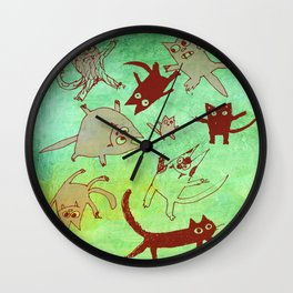 levitating kitties Wall Clock