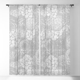 Moody Florals in Grey Sheer Curtain