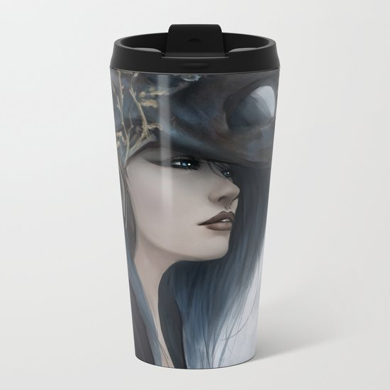 Bluish Black - Mysterious fantasy mage girl portrait Metal Travel Mug