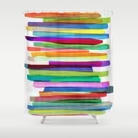 rug Shower Curtains featuring Colorful Stripes 1 by Mareike Böhmer