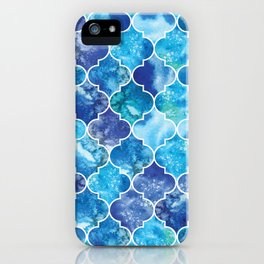Moroccan Tile Pattern in Blue Watercolor iPhone Case