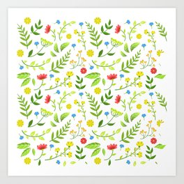 Girly Red Ditsy Floral Green Botanical Vines Patterns Art Print