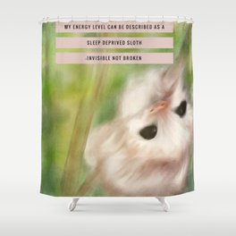 Funny Baby Sloth Reminds Fibromyalgia People to Take it Easy Shower Curtain
