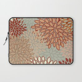 Festive, Floral Prints, Green, Terracotta, Red, Coloured Prints Laptop Sleeve