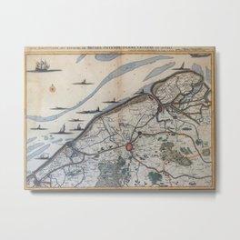 Vintage Map of Bruges Belgium (17th Century) Metal Print
