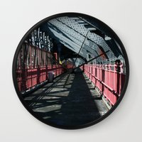 rileigh smirl Wall Clocks featuring Williamsburg Bridge by Rileigh Smirl