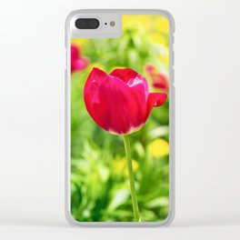 Tulips in a meadow Clear iPhone Case