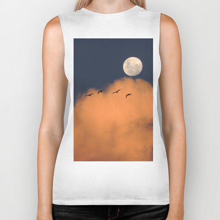 Moon cloud sky 7 Biker Tank