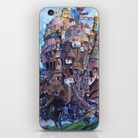 calcifer iPhone & iPod Skins featuring Howl's Moving Castle Painting by Little Miss Marikit