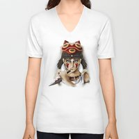 princess mononoke V-neck T-shirts featuring Mononoke by Cristina Valero