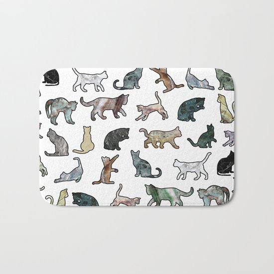 Cats shaped Marble - White Bath Mat
