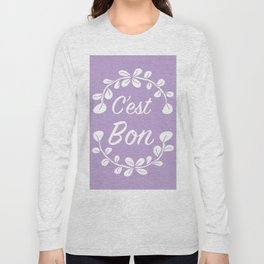 Inspirational French Quote with Leaves in Pastel Purple Long Sleeve T-shirt