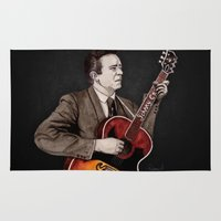 johnny cash Area & Throw Rugs featuring Johnny Cash by Daniel Cash