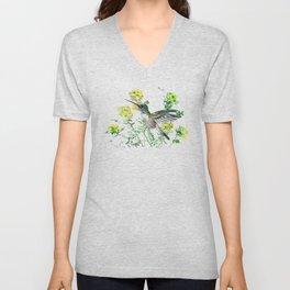 mmingbird design green yew Hummingbird and Yellow Flowers Unisex V-Neck