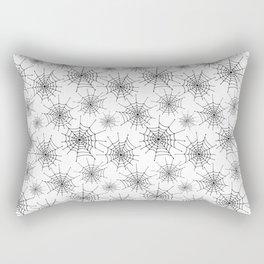 Spider web pattern. Black hand drawn spider webs on a white background. Rectangular Pillow