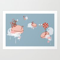 "macaroon Art Prints featuring Macaroon Heaven by Barbora ""Mad Alice"" Urbankova"