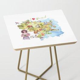 Brasil Map Side Table