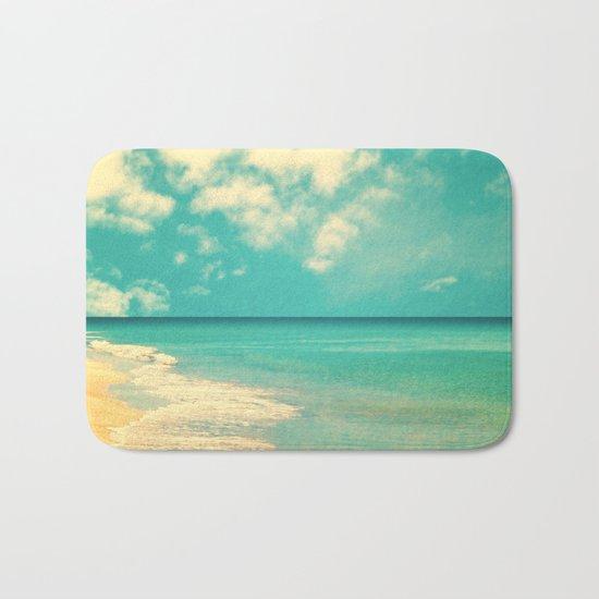 Retro beach and turquoise sky (square) Bath Mat
