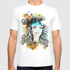 floral girl MEDIUM White Mens Fitted Tee
