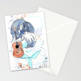 Lucy in the sky, sky, blue, guitar, psychadelic art Stationery Cards