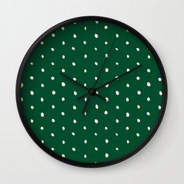 Green White Dot Wall Clock