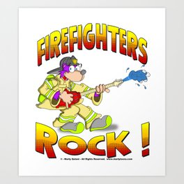 FIRE FIGHTERS ROCK Vibrant Haltone Edition Art Print