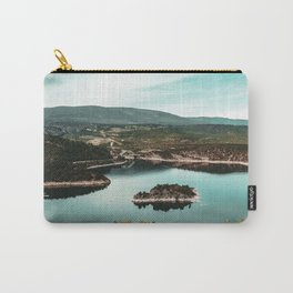 Little Mountain Island // Teal and Rustic Lake Photograph in Colorado Carry-All Pouch