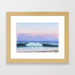 Full Moon Surf Framed Art Print