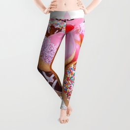 CHOCOLATE & PINK  STRAWBERRY GLAZED DONUTS ART Leggings