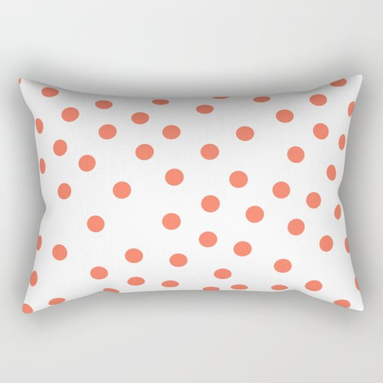 Simply Dots in Deep Coral on White Rectangular Pillow