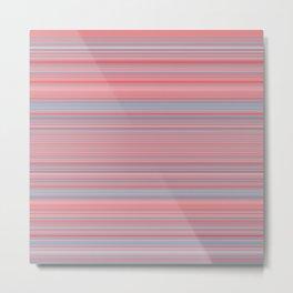 Pink Blue Stripes Metal Print