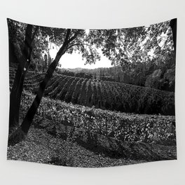 Vineyard in California Black & White Pencil Drawing Photo Wall Tapestry