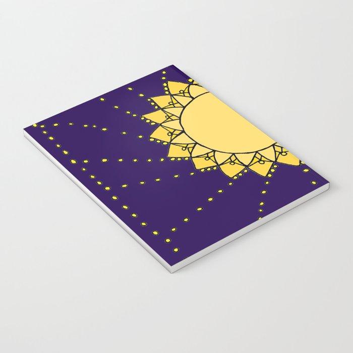 Celestial Swirling Sun Boho Mandala Hand-drawn Illustration Notebook