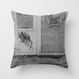 Death's newspaper booth Throw Pillow