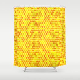 Gold and yellow honeycomb pattern Shower Curtain