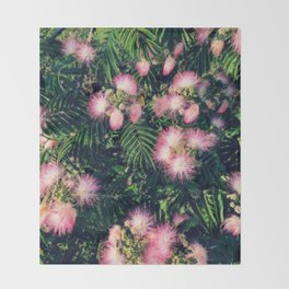 Mimosa Tree Floral Pattern   Photography   Tropical   Pink aesthetic Throw Blanket