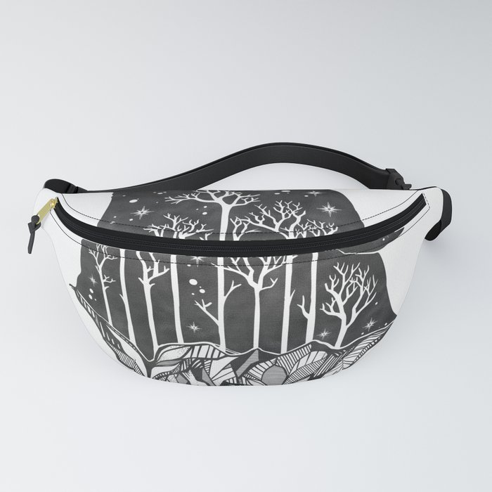 Adventure Wolf - Nature Mountains Wolves Howling Design Black on Pale Pink Fanny Pack