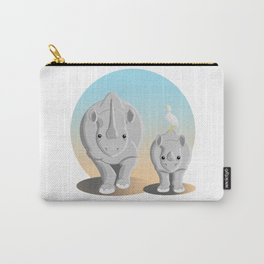 Black rhinoceros with baby Carry-All Pouch