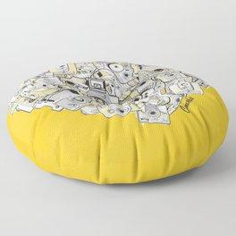 Camera Heart - on yellow Floor Pillow