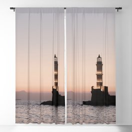 Lighthouse View Sunset In Greece Art Print | Crete Island Summer Holiday Photo | Europe Travel Photography Blackout Curtain