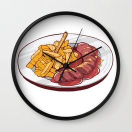Currywurst Pommes Wall Clock
