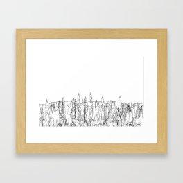 Glasgow, Scotland UK Skyline B&W - Thin Line Framed Art Print