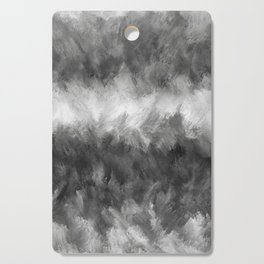 Gray White Feather Brush Abstract Cutting Board