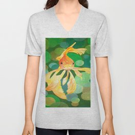 Vermilion Goldfish Swimming In Green Sea of Bubbles Unisex V-Neck