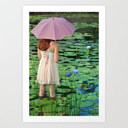 Girl In the Pond Art Print