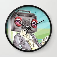 radiohead Wall Clocks featuring RadioHead by Andrea Fonseca Illustration