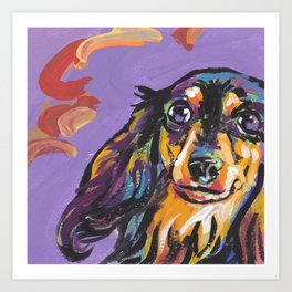 Longhaired Dachshund Fun Dog Portrait bright colorful Pop Art Painting by LEA Art Print