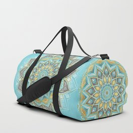 Cyan & Golden Yellow Sunny Skies Medallion Duffle Bag
